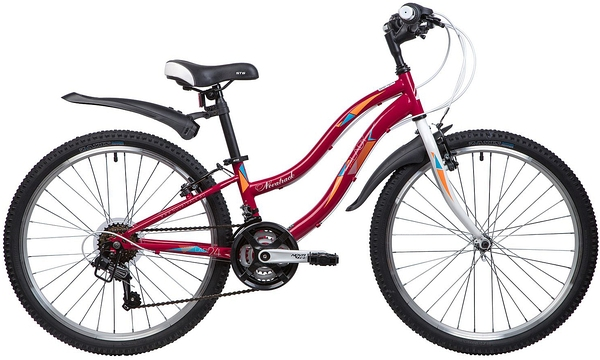 """134104 2 - Велосипед NOVATRACK LADY, Скоростной, р. 10"""", колеса 24"""", цвет Красный, 2020г."""