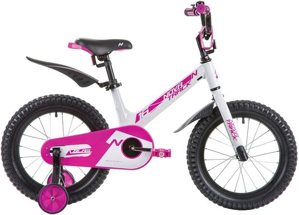 """135364 2 - Велосипед NOVATRACK BLAST, Детский, р. 10,5"""", колеса 16"""", цвет Белый-фуксия, 2020г."""