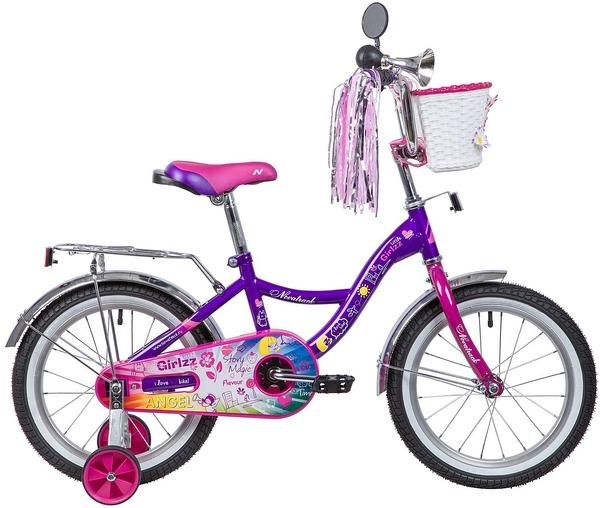 """135365 2 - Велосипед NOVATRACK GIRLZZ, Детский, р. 10,5"""", колеса 16"""", цвет Фиолетовый, 2020г."""