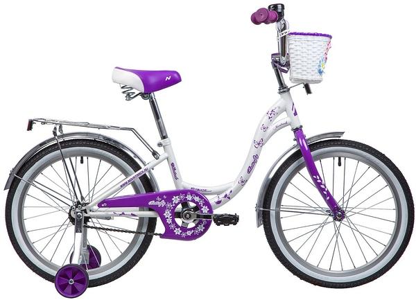 """135368 2 - Велосипед NOVATRACK BUTTERFLY, Детский, р. 12"""", колеса 20"""", цвет Фиолетовый, 2020г."""
