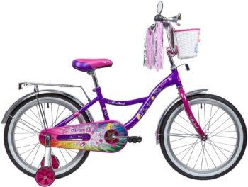 """135369 2 350x264 - Велосипед NOVATRACK GIRLZZ, Детский, р. 12"""", колеса 20"""", цвет Фиолетовый, 2020г."""