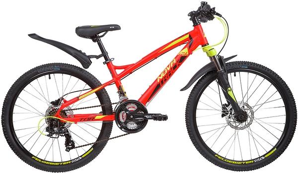 """135374 2 - Велосипед NOVATRACK TORNADO, Скоростной, р. 13"""", колеса 24"""", цвет Красный, 2020г."""