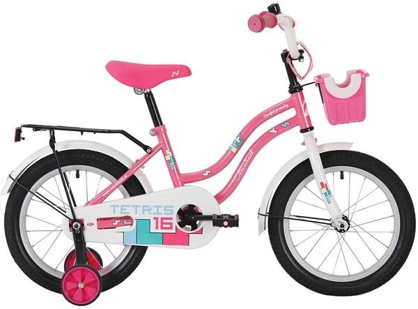 """139616 2 - Велосипед NOVATRACK TETRIS, Детский, р. 9"""", колеса 14"""", цвет Розовый, 2020г."""