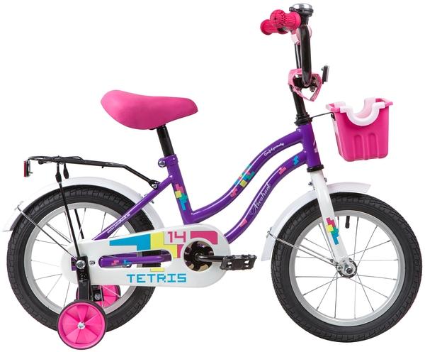 """139617 2 - Велосипед NOVATRACK TETRIS, Детский, р. 9"""", колеса 14"""", цвет Фиолетовый, 2020г."""