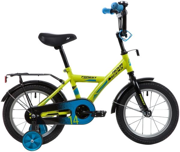 """139619 2 - Велосипед NOVATRACK FOREST, Детский, р. 9"""", колеса 14"""", цвет Зеленый, 2020г."""