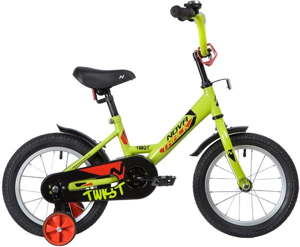"""139622 2 - Велосипед NOVATRACK TWIST, Детский, р. 9"""", колеса 14"""", цвет Зеленый, 2020г."""