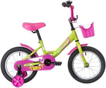 """139623 2 350x289 - Велосипед NOVATRACK TWIST, Детский, р. 9"""", колеса 14"""", цвет Зеленый-розовый, 2020г."""
