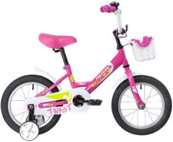 """139624 2 350x286 - Велосипед NOVATRACK TWIST, Детский, р. 9"""", колеса 14"""", цвет Розовый, 2020г."""