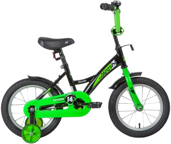 """139627 2 - Велосипед NOVATRACK STRIKE, Детский, р. 9"""", колеса 14"""", цвет Черный-зеленый, 2020г."""