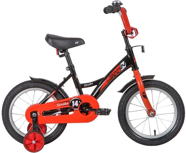 """139628 2 - Велосипед NOVATRACK STRIKE, Детский, р. 9"""", колеса 14"""", цвет Черный-красный, 2020г."""