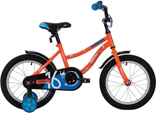 """139629 2 - Велосипед NOVATRACK NEPTUN, Детский, р. 9"""", колеса 14"""", цвет Оранжевый, 2020г."""