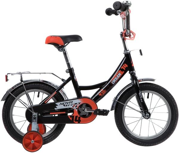 """139632 2 - Велосипед NOVATRACK URBAN, Детский, р. 9"""", колеса 14"""", цвет Черный, 2020г."""