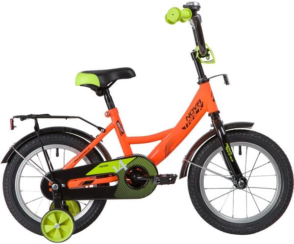 """139633 2 - Велосипед NOVATRACK VECTOR, Детский, р. 9"""", колеса 14"""", цвет Оранжевый, 2020г."""