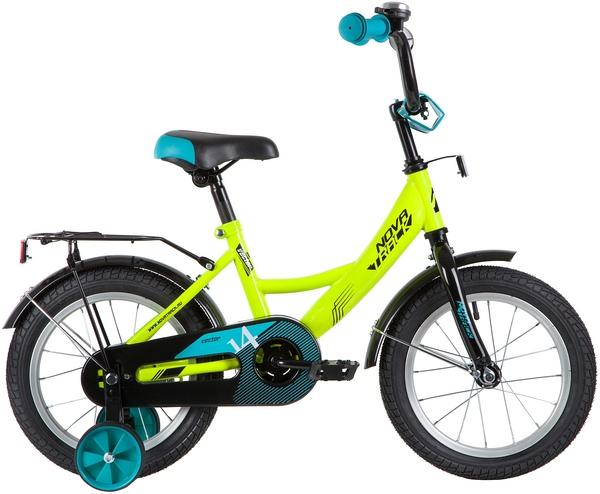 """139634 2 - Велосипед NOVATRACK VECTOR, Детский, р. 9"""", колеса 14"""", цвет Зеленый, 2020г."""