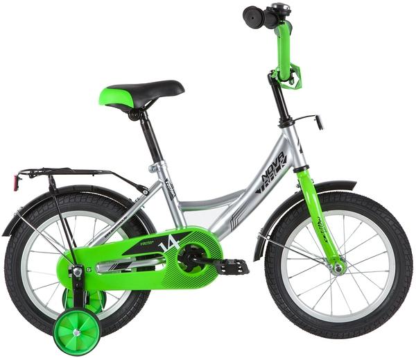"""139635 2 - Велосипед NOVATRACK VECTOR, Детский, р. 9"""", колеса 14"""", цвет Серебристый, 2020г."""