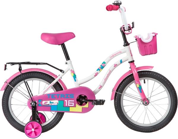 """139637 2 - Велосипед NOVATRACK TETRIS, Детский, р. 10,5"""", колеса 16"""", цвет Белый, 2020г."""