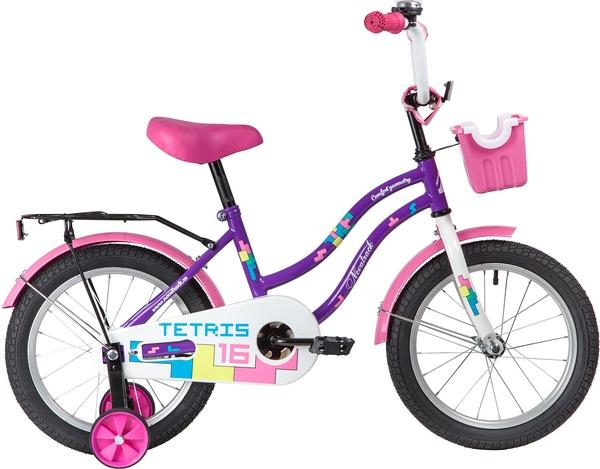 """139639 2 - Велосипед NOVATRACK TETRIS, Детский, р. 10,5"""", колеса 16"""", цвет Фиолетовый, 2020г."""