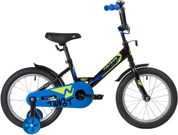 """139643 2 - Велосипед NOVATRACK TWIST, Детский, р. 10,5"""", колеса 16"""", цвет Черный, 2020г."""
