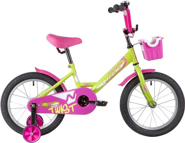 """139645 2 - Велосипед NOVATRACK TWIST, Детский, р. 10,5"""", колеса 16"""", цвет Зеленый-розовый, 2020г."""