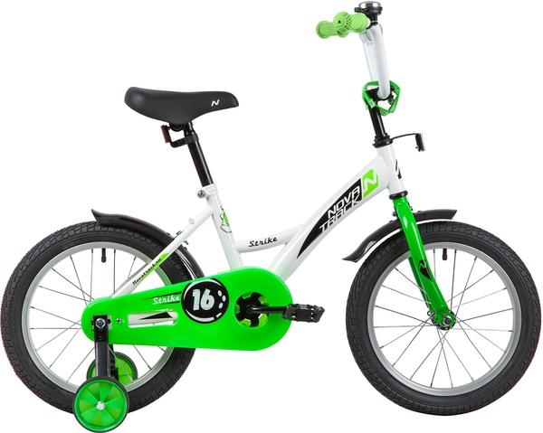 """139647 2 - Велосипед NOVATRACK STRIKE, Детский, р. 10,5"""", колеса 16"""", цвет Белый-зеленый, 2020г."""