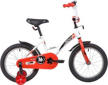 """139648 2 350x274 - Велосипед NOVATRACK STRIKE, Детский, р. 10,5"""", колеса 16"""", цвет Белый-красный, 2020г."""