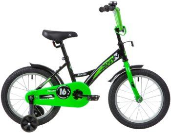 """139649 2 350x274 - Велосипед NOVATRACK STRIKE, Детский, р. 10,5"""", колеса 16"""", цвет Черный-зеленый, 2020г."""