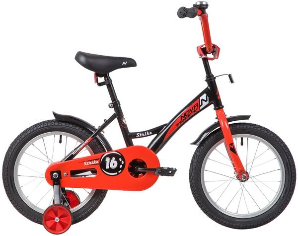 """139650 2 - Велосипед NOVATRACK STRIKE, Детский, р. 10,5"""", колеса 16"""", цвет Черный-красный, 2020г."""