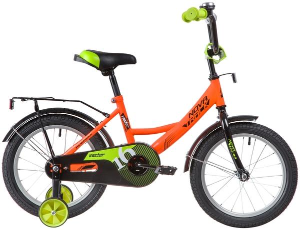 """139658 2 - Велосипед NOVATRACK VECTOR, Детский, р. 10,5"""", колеса 16"""", цвет Оранжевый, 2020г."""