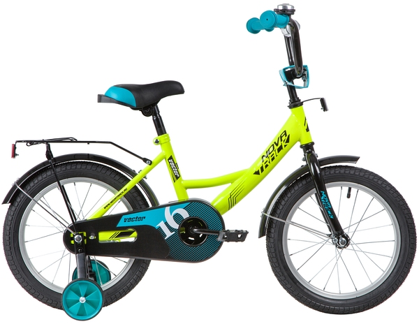 """139659 2 - Велосипед NOVATRACK VECTOR, Детский, р. 10,5"""", колеса 16"""", цвет Зеленый, 2020г."""