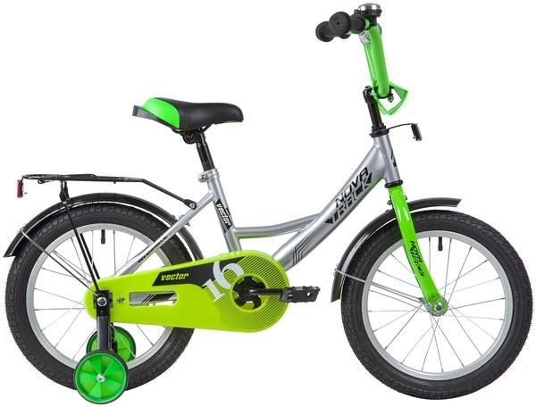 """139660 2 - Велосипед NOVATRACK VECTOR, Детский, р. 10,5"""", колеса 16"""", цвет Серебристый, 2020г."""