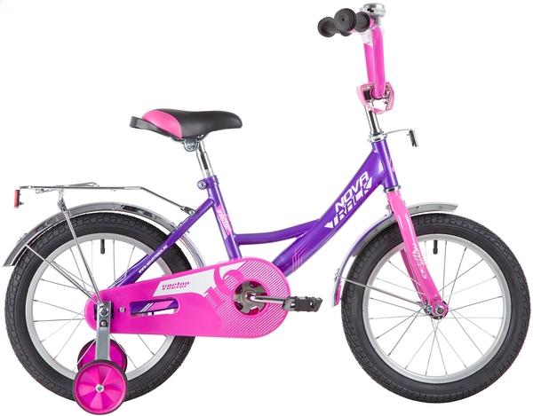 """139661 2 - Велосипед NOVATRACK VECTOR, Детский, р. 10,5"""", колеса 16"""", цвет Фиолетовый, 2020г."""
