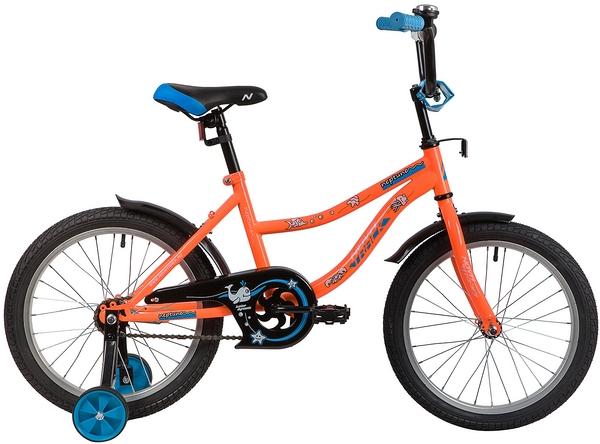 """139665 2 - Велосипед NOVATRACK NEPTUN, Детский, р. 11,5"""", колеса 18"""", цвет Оранжевый, 2020г."""