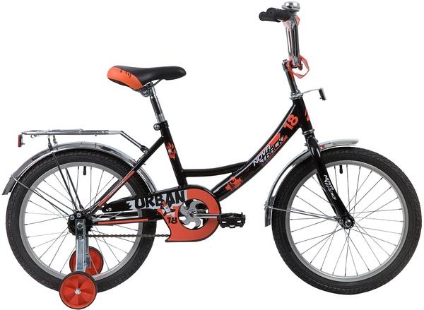 """139668 2 - Велосипед NOVATRACK URBAN, Детский, р. 11,5"""", колеса 18"""", цвет Черный, 2020г."""