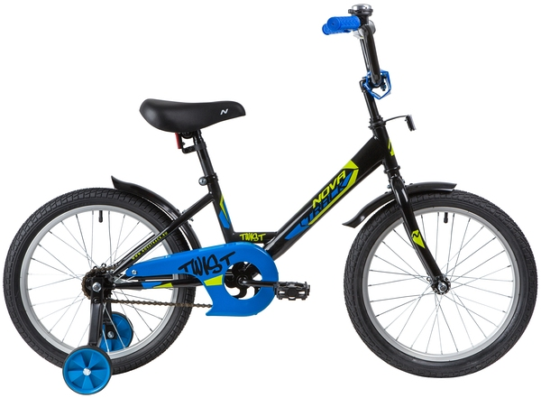"""139672 2 - Велосипед NOVATRACK TWIST, Детский, р. 11,5"""", колеса 18"""", цвет Черный, 2020г."""