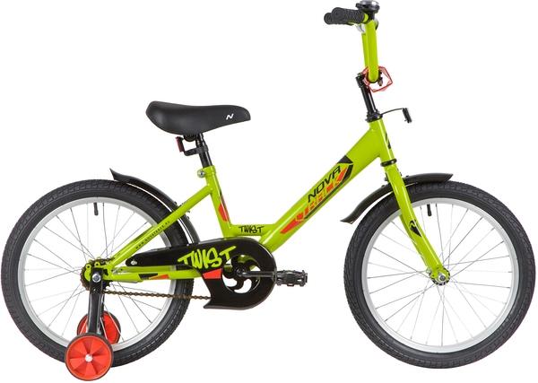 """139673 2 - Велосипед NOVATRACK TWIST, Детский, р. 11,5"""", колеса 18"""", цвет Зеленый, 2020г."""