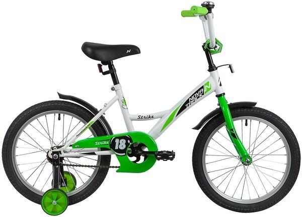 """139682 2 - Велосипед NOVATRACK STRIKE, Детский, р. 11,5"""", колеса 18"""", цвет Белый-зеленый, 2020г."""