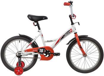 """139683 2 350x256 - Велосипед NOVATRACK STRIKE, Детский, р. 11,5"""", колеса 18"""", цвет Белый-красный, 2020г."""