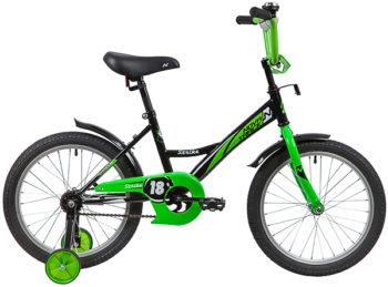 """139684 2 350x259 - Велосипед NOVATRACK STRIKE, Детский, р. 11,5"""", колеса 18"""", цвет Черный-зеленый, 2020г."""