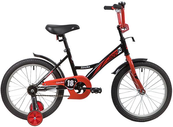 """139685 2 - Велосипед NOVATRACK STRIKE, Детский, р. 11,5"""", колеса 18"""", цвет Черный-красный, 2020г."""