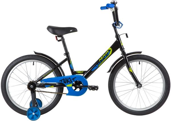 """139689 2 - Велосипед NOVATRACK TWIST, Детский, р. 12"""", колеса 20"""", цвет Черный, 2020г."""