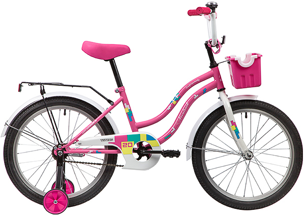 """139694 2 - Велосипед NOVATRACK TETRIS, Детский, р. 12"""", колеса 20"""", цвет Розовый, 2020г."""