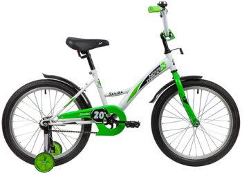 """139703 2 350x254 - Велосипед NOVATRACK STRIKE, Детский, р. 12"""", колеса 20"""", цвет Белый-зеленый, 2020г."""