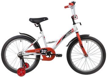 """139704 2 350x253 - Велосипед NOVATRACK STRIKE, Детский, р. 12"""", колеса 20"""", цвет Белый-красный, 2020г."""