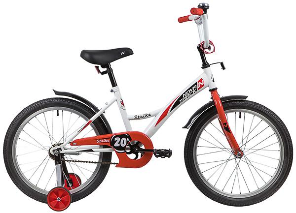 """139704 2 - Велосипед NOVATRACK STRIKE, Детский, р. 12"""", колеса 20"""", цвет Белый-красный, 2020г."""