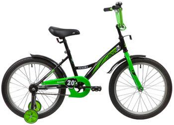 """139705 2 350x253 - Велосипед NOVATRACK STRIKE, Детский, р. 12"""", колеса 20"""", цвет Черный-зеленый, 2020г."""