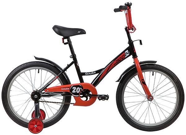 """139706 2 - Велосипед NOVATRACK STRIKE, Детский, р. 12"""", колеса 20"""", цвет Черный-красный, 2020г."""