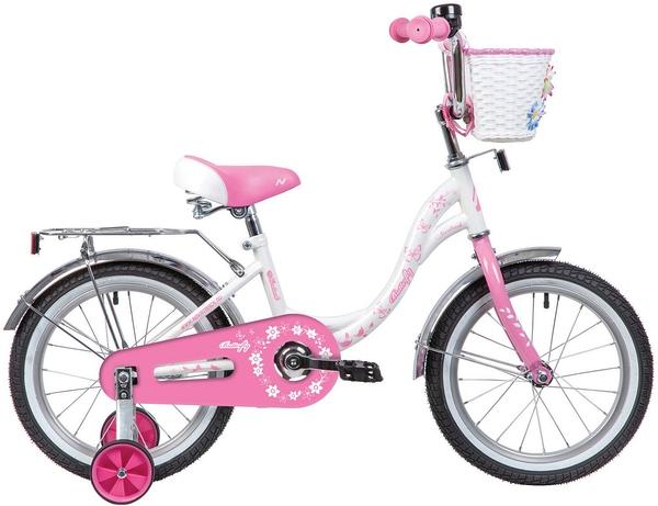 """139712 2 - Велосипед NOVATRACK BUTTERFLY, Детский, р. 10,5"""", колеса 16"""", цвет Розовый, 2020г."""