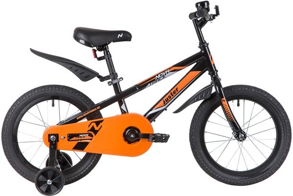 """139714 2 - Велосипед NOVATRACK JUSTER, Детский, р. 10,5"""", колеса 16"""", цвет Черный, 2020г."""