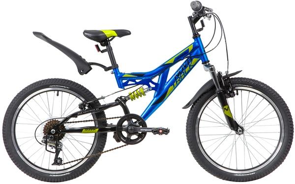"""139750 2 - Велосипед NOVATRACK SHARK, Скоростной, р. 12"""", колеса 20"""", цвет Синий, 2020г."""