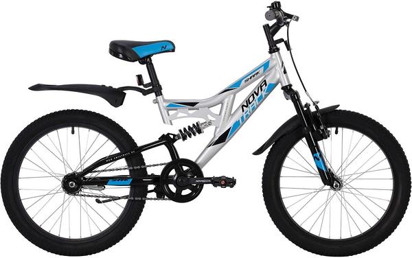 """139751 2 - Велосипед NOVATRACK SHARK, Скоростной, р. 12"""", колеса 20"""", цвет Серебристый, 2020г."""